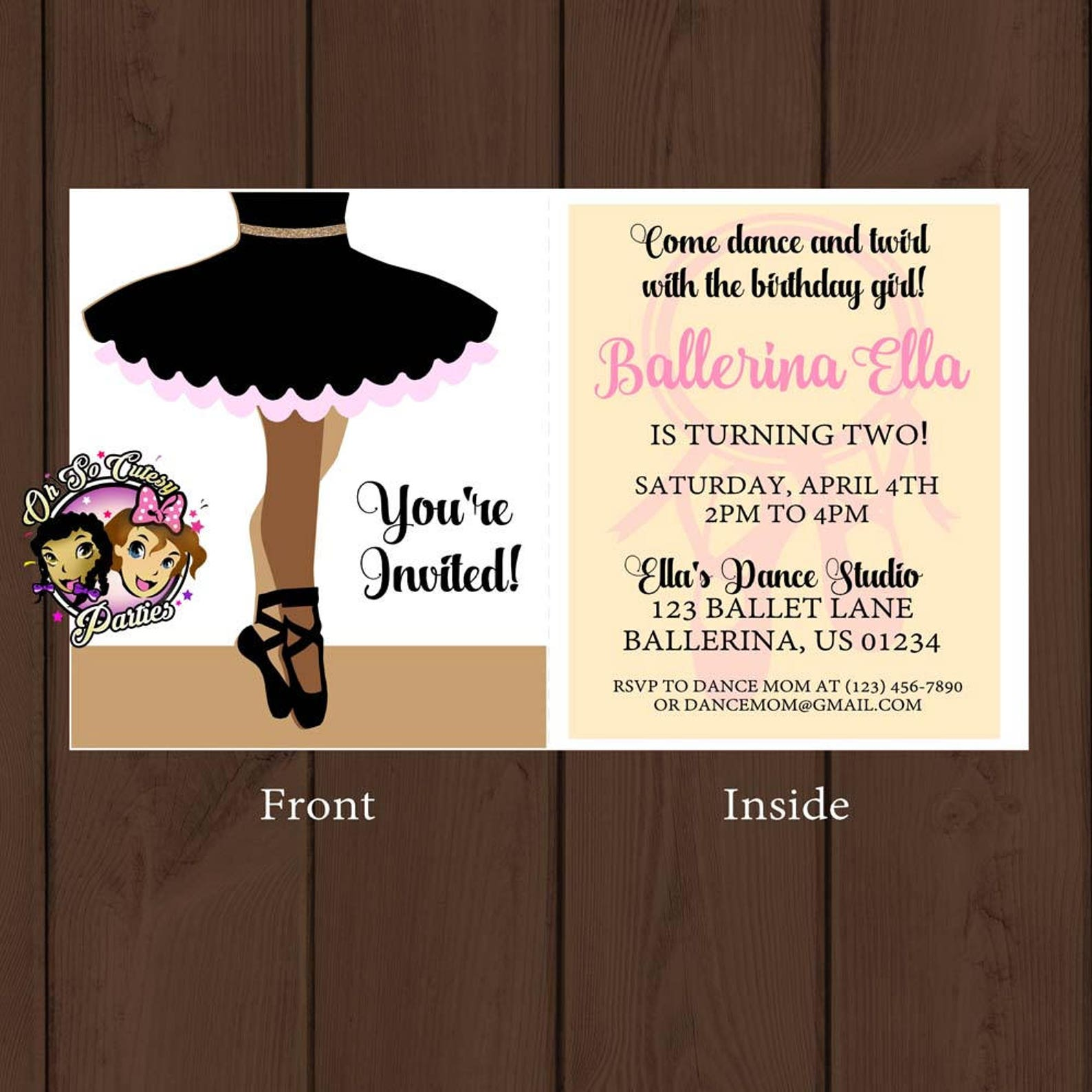 ballerina invitation | digital | ballerina birthday invitation | ballet shoe invitation| tutu birthday invitation | dance and tw