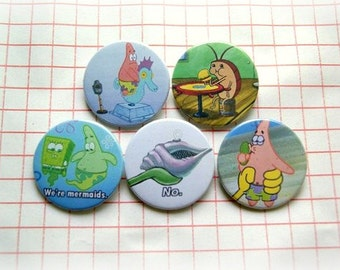 Sponge Bob - pinback button or magnet 1.5 Inch