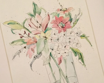 Custon Bouquet Painting Watercolor Drawing