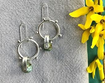 Silver hoop with turquoise jasper drop earrings/medium silver dot hoops/handmade artisan earrings/contemporary earrings