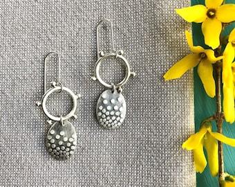 Silver hoop with oval drop earrings/small silver dot hoops/handmade artisan earrings/contemporary earrings