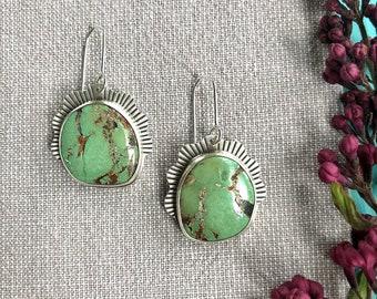 Silver and turquoise earrings/Tibetan turquoise earrings/handmade artisan earrings/contemporary earrings