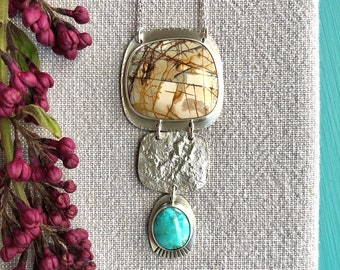 Silver, jasper and turquoise necklace/Creek jasper and white water turquoise pendant/handcrafted artisan necklace/contemporary necklace