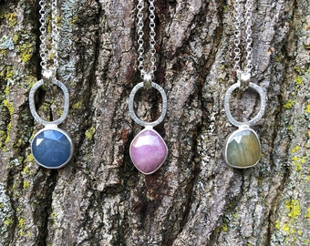 """Silver and multicolored sapphire necklace """"Sara""""/colorful gemstone necklace/artisan necklace"""