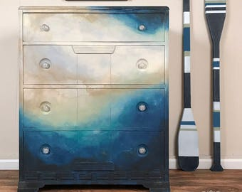 Watercolor Dresser, ocean, waves, sky, blue, tan, white, abstract, painted