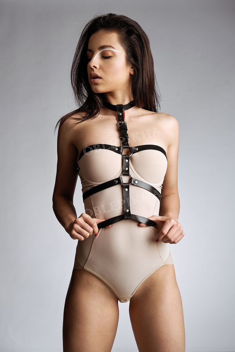 782e420d3d7 Body harness Leather body belt Corset belt with collar