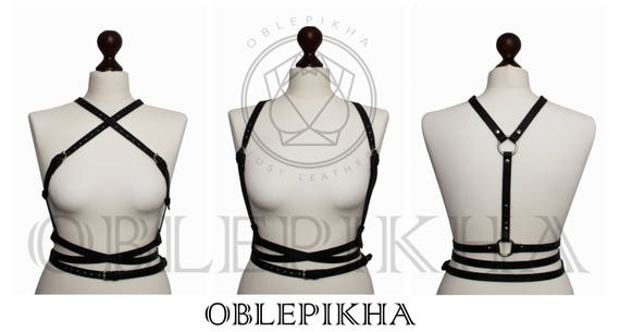 Women Fetish Leather Shoulder waist harness belt Strappy clothing High belt harness Waist harness Suspender harness bra Mature partywear EwgqwH41