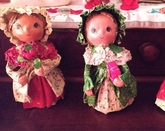 Vintage Papier Mache Doll ornaments