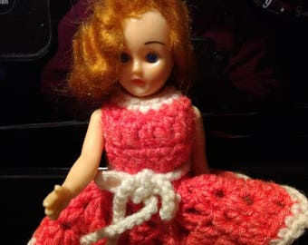 Vintage Hard Plastic Doll Chrochet Dress Red Hair