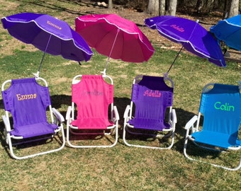 Childu0027s PERSONALIZED Beach Chair with umbrella. Sand chair beach chair folding chair child umbrella name initials monogram & Baby beach chair | Etsy