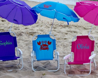 ab3f9ceb9262 Child s PERSONALIZED Beach Chair with umbrella. Sand chair