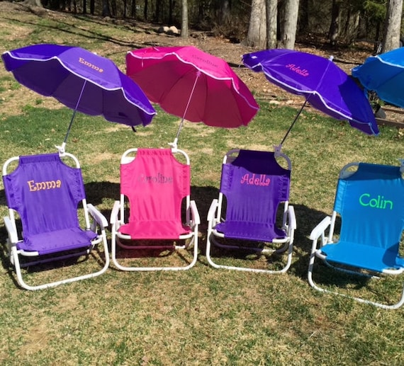 Admirable Childs Personalized Beach Chair With Umbrella Sand Chair Beach Chair Folding Chair Child Umbrella Name Initials Monogram Gmtry Best Dining Table And Chair Ideas Images Gmtryco