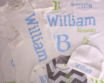 BABY SLEEPER- Name Blanket with matching 'going home' outfit, bib and infant beanie, monogrammed, personalized, soft receiving blanket