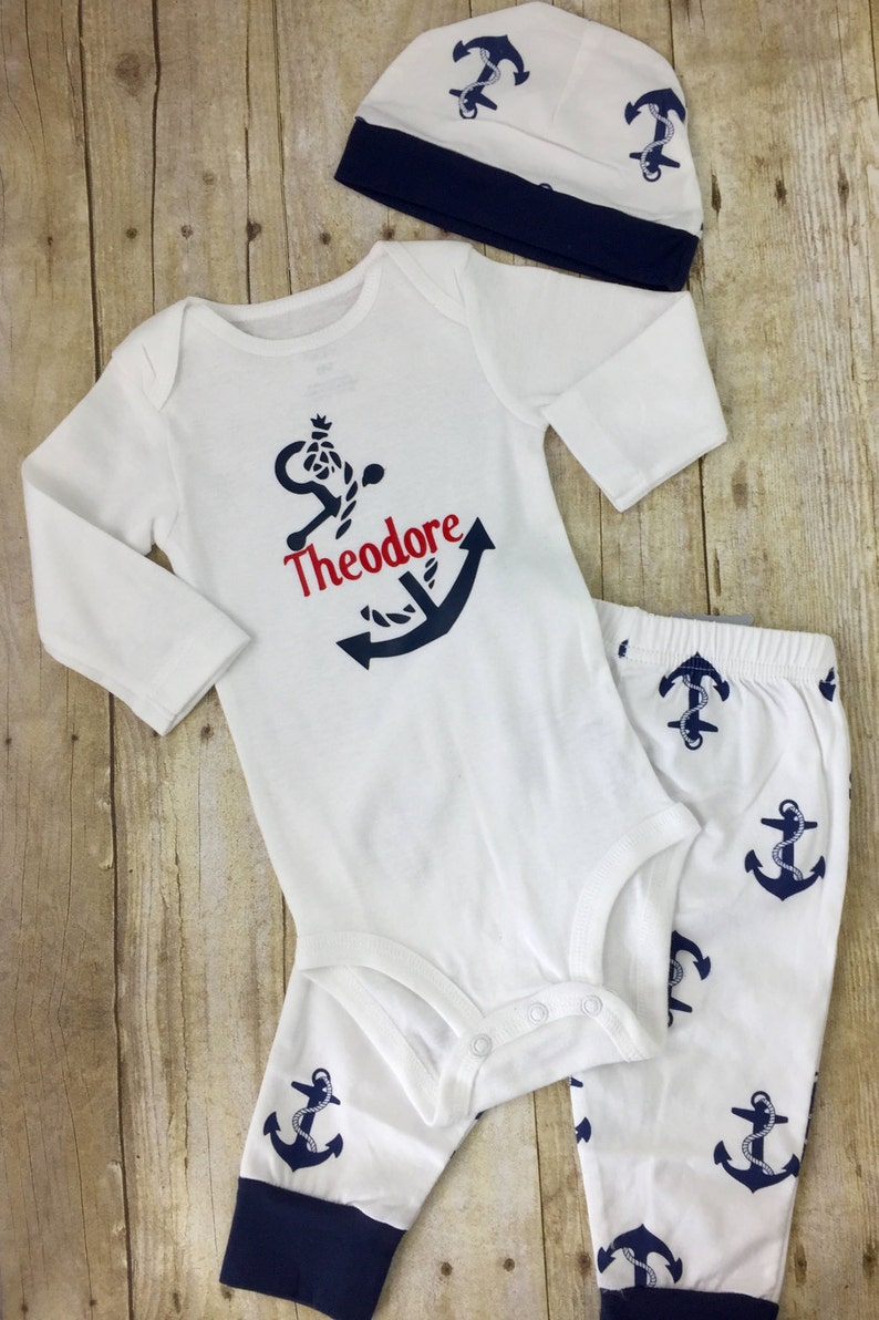 65822b2dd MONOGRAMMED BABY BOY Outfit Personalized anchor baby onesie | Etsy
