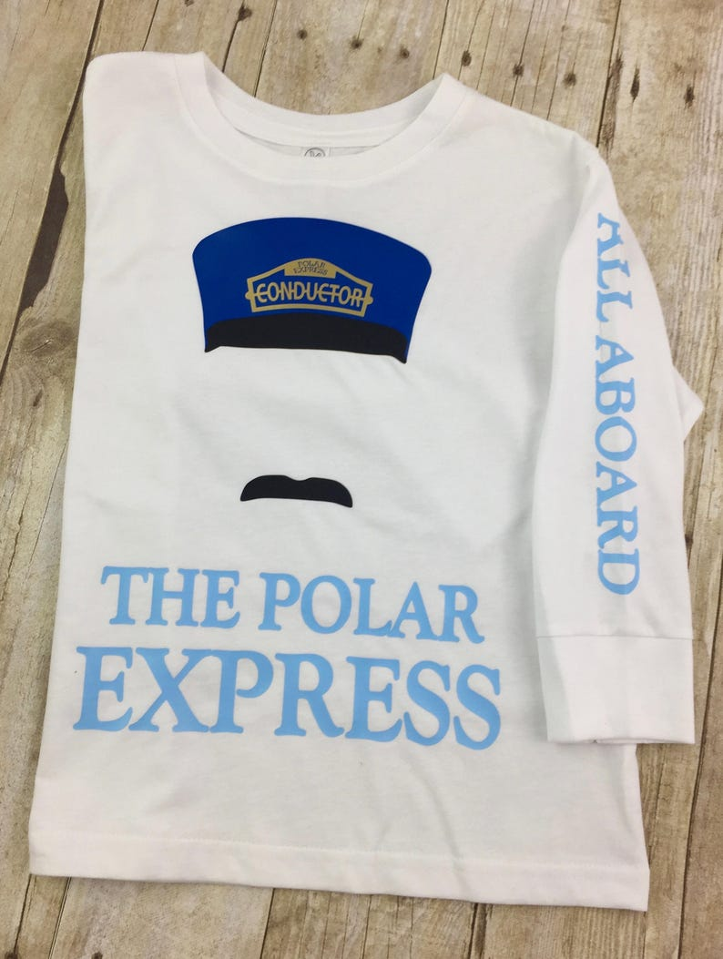d6a04f517cd68a POLAR EXPRESS T-SHIRT Train Conductor to the North Pole