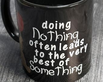 NEW Black 11oz Coffee Mug - Pooh Mug - Black  Mug - Decorated Mug - Ceramic Coffee Mug - Black Coffee Mug - Winnie the Pooh Mug - 9-052