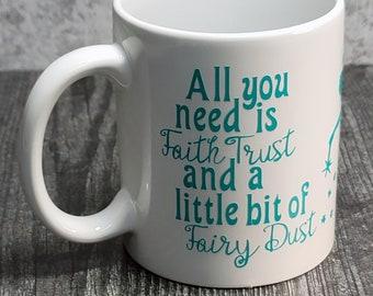 "NEW White 11oz ""Fairy Dust"" Coffee Mug - Tinkerbell Mug - Teal Decal - Decorated Mug - Ceramic Coffee Mug - Teal Mug - 9-071"