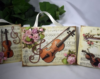 NEW Music and Memories Mixed Media Canvas Trio - Handmade Canvas - Stamperia Canvas - Mixed Media Canvas - Music and Memories Paper - 11-023