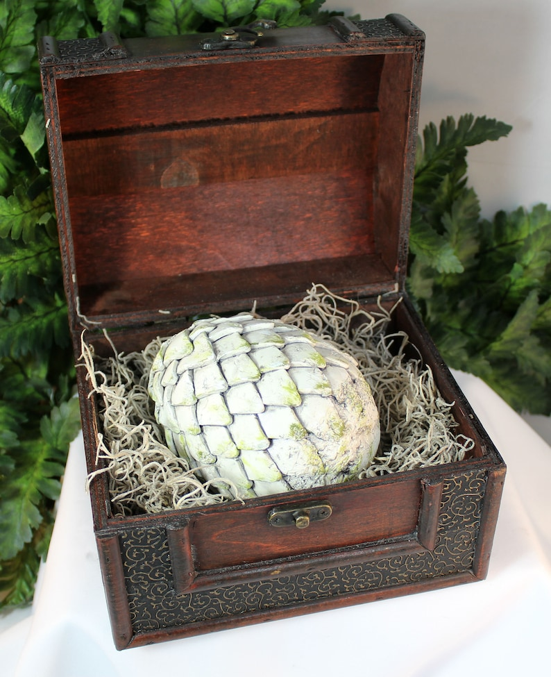 Polymer Clay Large  Dragon Egg in Chest  Dragon Egg  White image 0