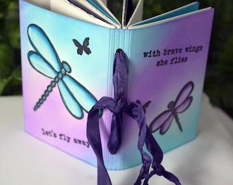 NEW Dragonfly Travel Journal - Art Journal - Purple and Pink Journal - Art Journal - Mixed Media Journal - Mixed Media Travel - 3-036