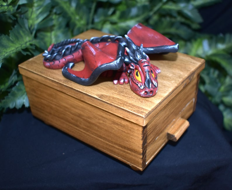 Polymer Clay Dragon Dragon on Wood Jewelry Box  Dragon Box  image 0