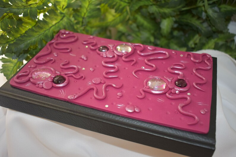 Polymer Clay Fuschia Journal Sketchbook  Pink Sketchbook  image 0