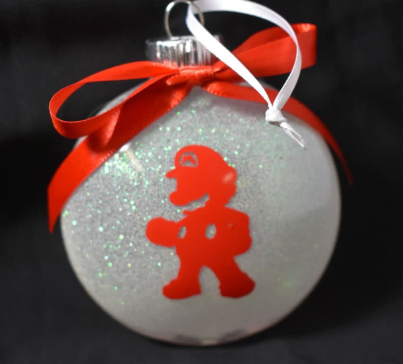 Christmas Glitter Ornament  Mario Ornament  Red and White image 0