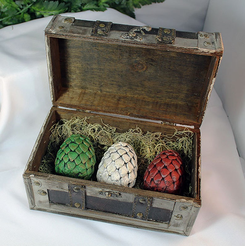 Polymer Clay Small Dragon Eggs in Brown Chest  Dragon Eggs  image 0