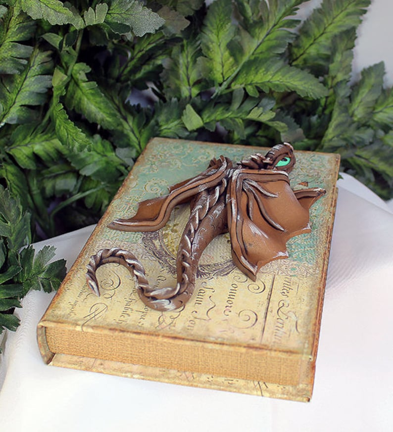Polymer Clay Brown Dragon on Book  Dragon Sculpture  Brown image 0