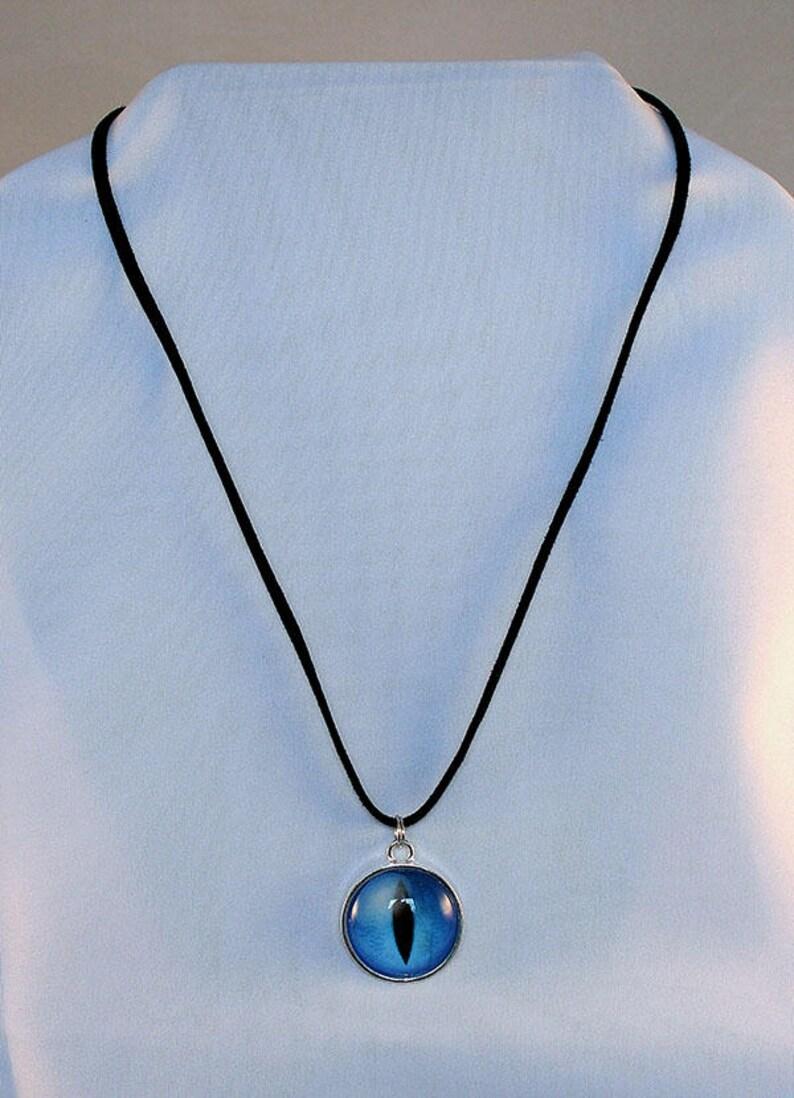 Blue Handcrafted Glass Dragon Eye Necklace  Blue Dragon Eye  image 0