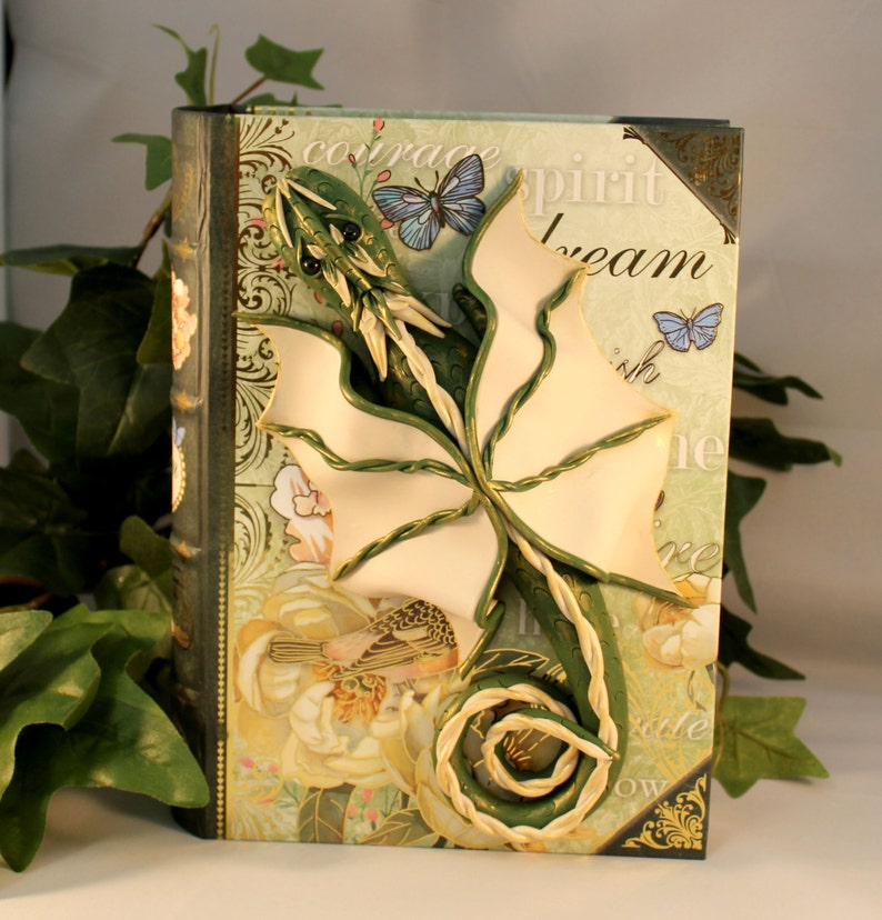 Polymer Clay Green and Beige Dragon Book  Dragon Book  image 0