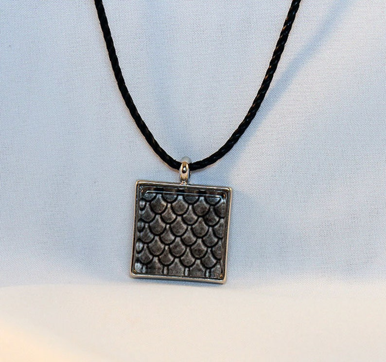 Gray Handcrafted Glass Dragon Scale Necklace  Dragon Scales  image 0