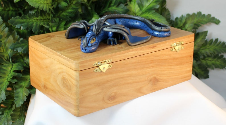 Polymer Clay Blue Dragon on Apple Wood Box  Dragon Box  image 0