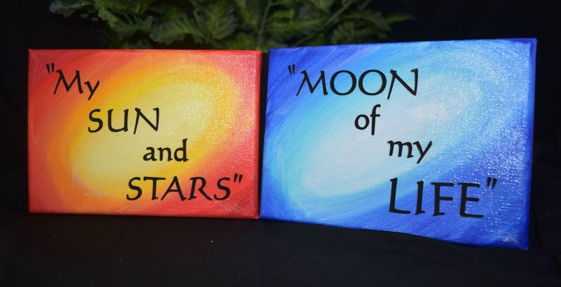 4x5 Canvas Set  Handmade 4x5 Canvas  Sun and Moon Quote image 0