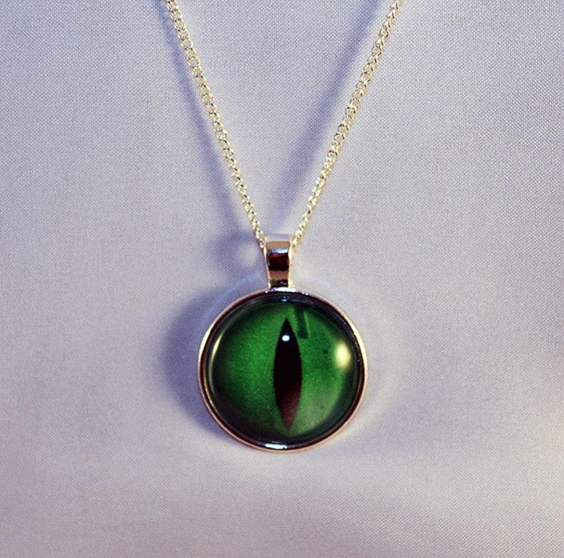 Green Handcrafted Glass Dragon Eye Necklace  Green Dragon Eye image 0