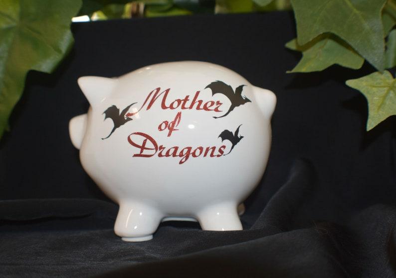 White Ceramic Piggy Bank  Mother of Dragons  Small Piggy image 0