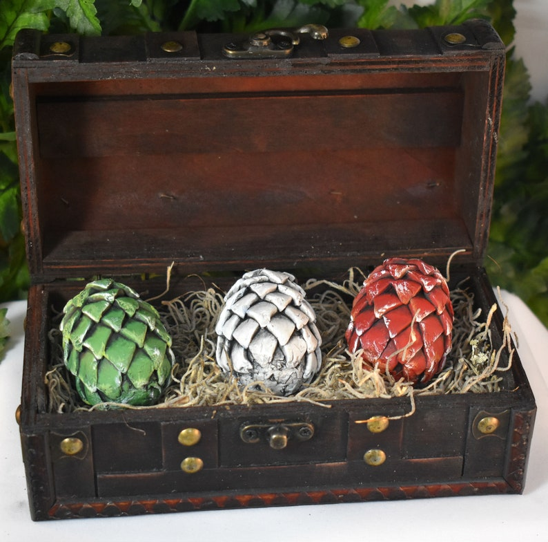 Polymer Clay Mini Dragon Eggs in Brown Chest  Dragon Eggs  image 0