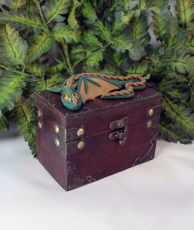 Polymer Clay Green and Brown Dragon Chest  Dragon Chest  image 0