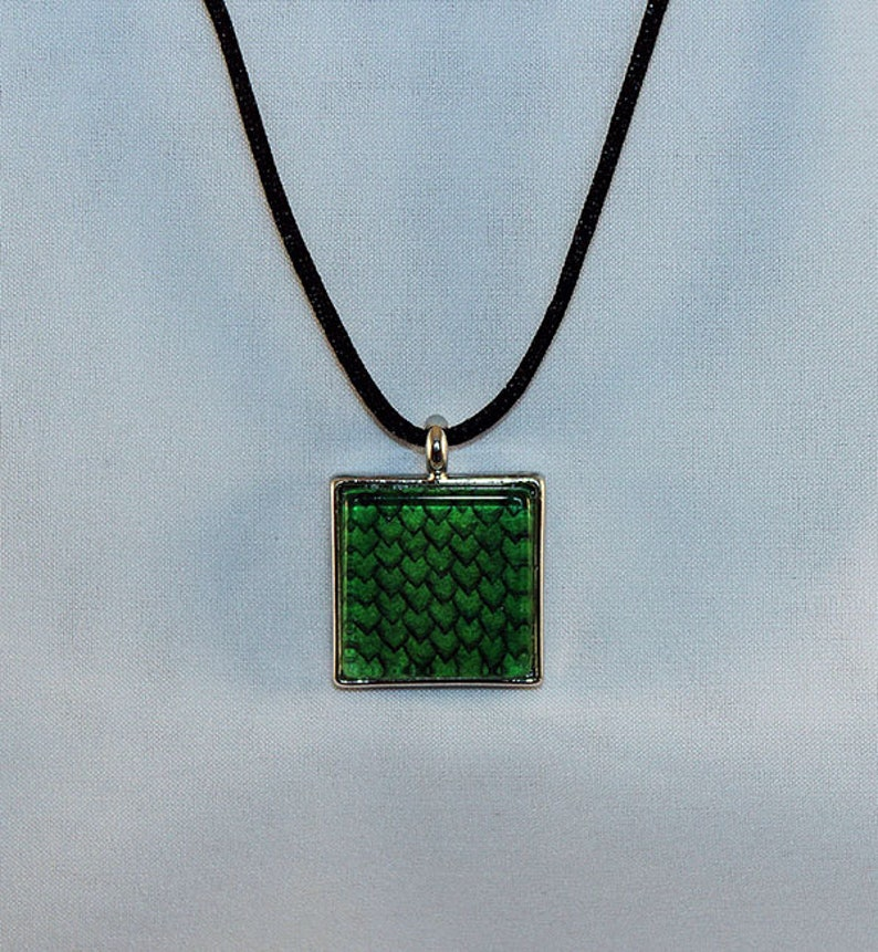 Green Handcrafted Glass Dragon Scale Necklace  Dragon Scales image 0