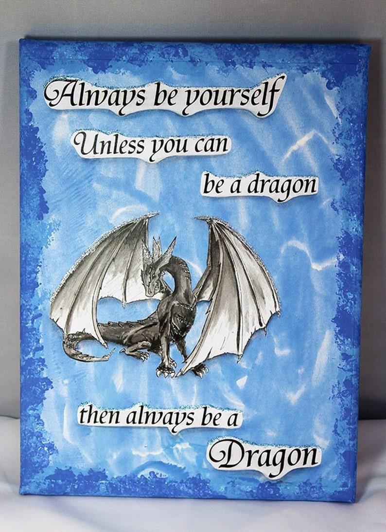 Handmade Mixed Media Dragon Canvas 9x12  Mixed Media Canvas  image 0