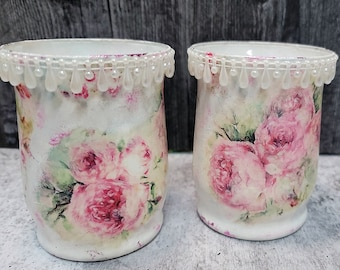 NEW Candle Holder Set - Candle Holders - Mixed Media Candle Holder - Table Art - Decorative Candle Holder - Hand Decorated Glass Jar - 7-077