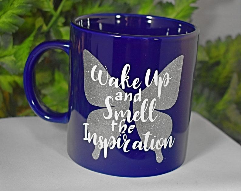 Blue 20oz Inspiration Coffee Mug  Wake Up and image 0
