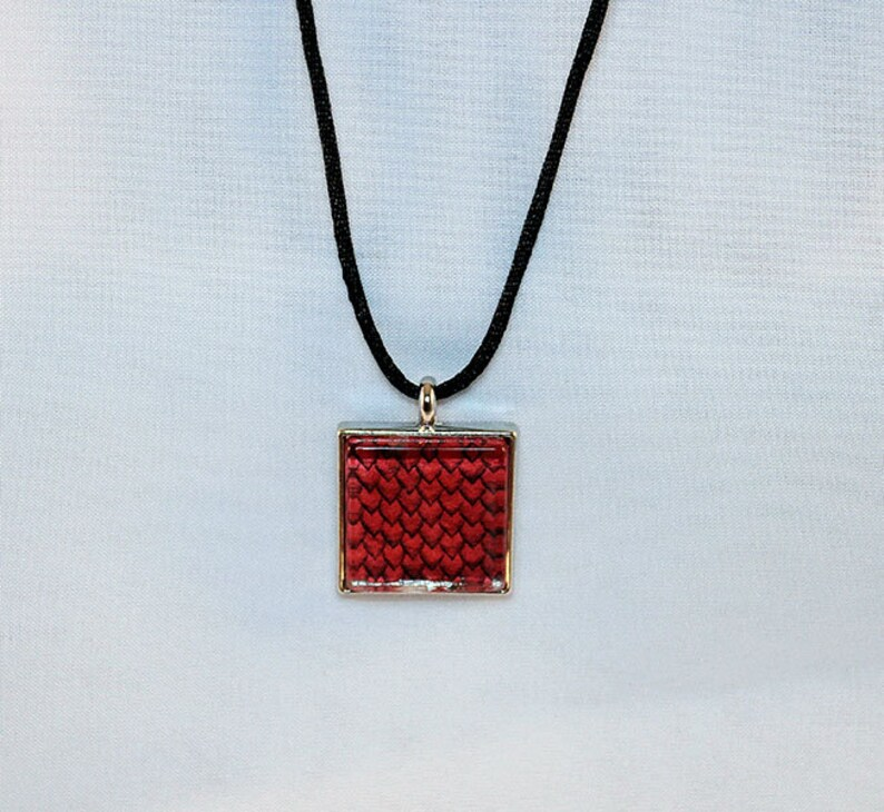 Red Handcrafted Glass Dragon Scale Necklace  Dragon Scales  image 0