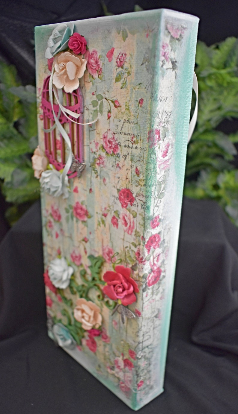 Rectangle Rice Paper Mixed Media Canvas  Handmade Canvas  image 0