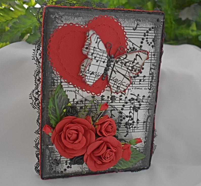 5 x 7 Rice Paper Mixed Media Canvas  Handmade Heart Canvas  image 0