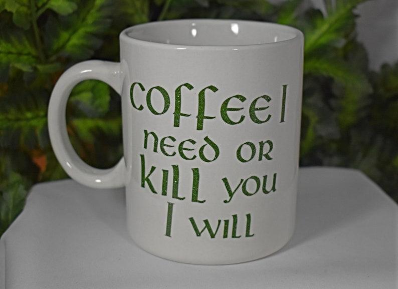 White 20oz Yoda Coffee Mug  Coffee I Need or Kill You I will image 0
