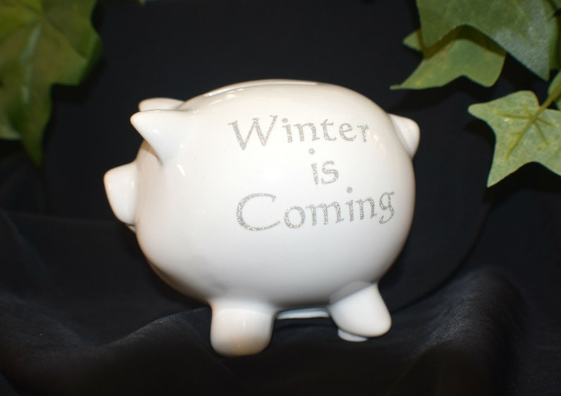 White Ceramic Piggy Bank  Winter is Coming  Small Piggy Bank image 0