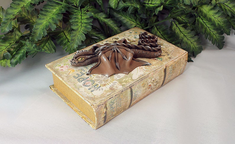 Polymer Clay Brown Dragon Book  Dragon Sculpture  Brown image 0