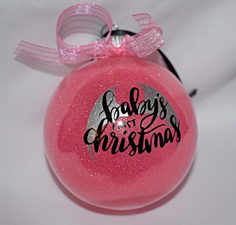 Christmas Ornament  Baby's First Christmas  Pink Glitter image 0