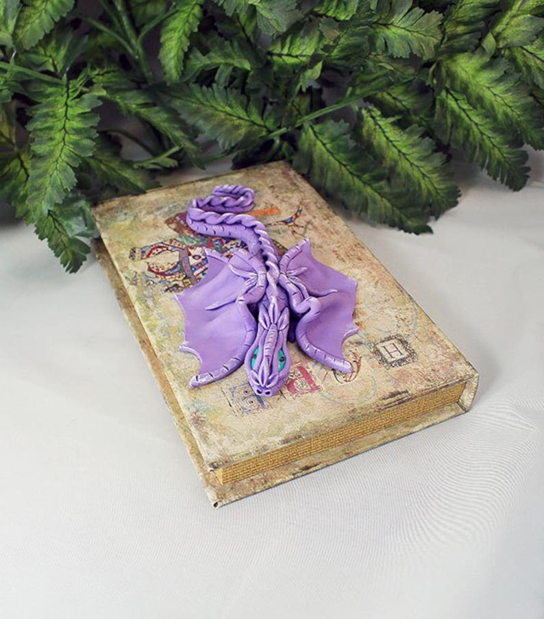 Polymer Clay Purple Dragon on Book  Dragon Sculpture  Dragon image 0